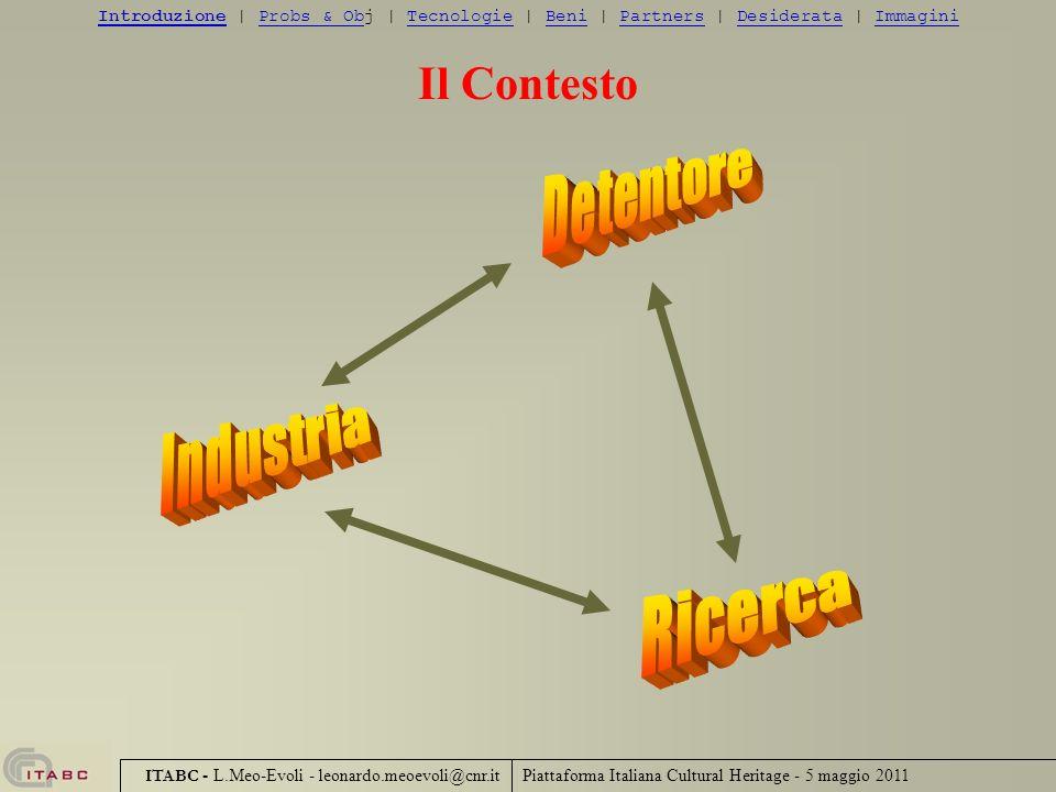 Piattaforma Italiana Cultural Heritage - 5 maggio 2011 ITABC - L.Meo-Evoli - leonardo.meoevoli@cnr.it Il Contesto IntroduzioneIntroduzione | Probs & O