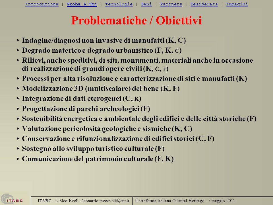 Piattaforma Italiana Cultural Heritage - 5 maggio 2011 ITABC - L.Meo-Evoli - leonardo.meoevoli@cnr.it Problematiche / Obiettivi Indagine/diagnosi non