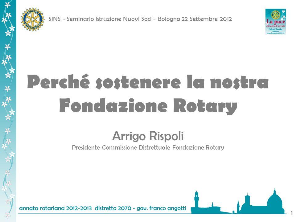 SINS - Seminario Istruzione Nuovi Soci - Bologna 22 Settembre 2012 1 Perché sostenere la nostra Fondazione Rotary Arrigo Rispoli Presidente Commission