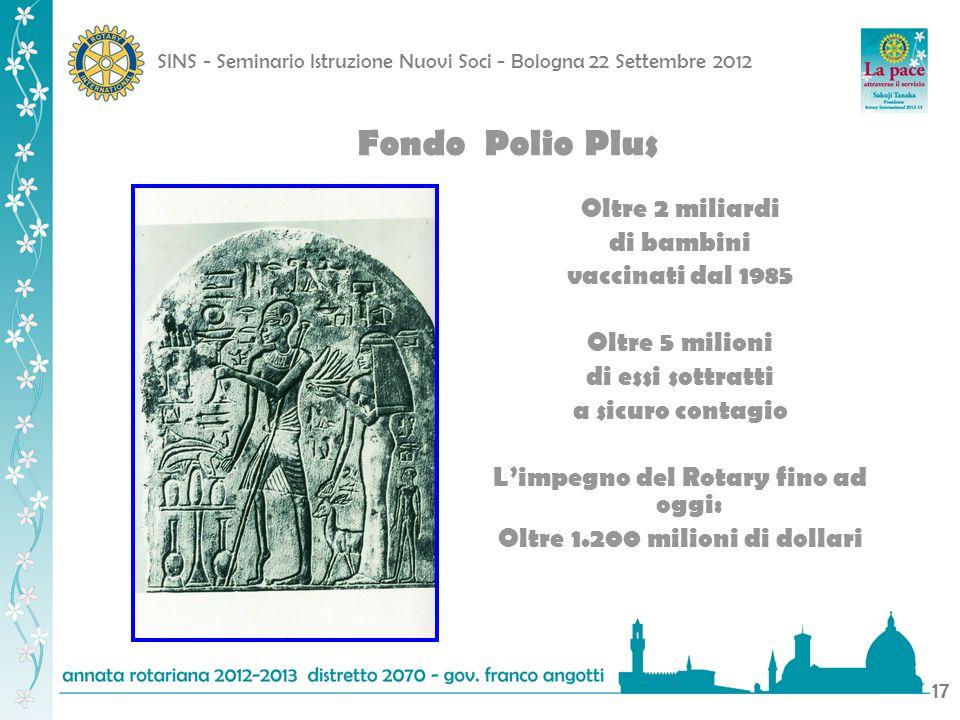 SINS - Seminario Istruzione Nuovi Soci - Bologna 22 Settembre 2012 17 Fondo Polio Plus Oltre 2 miliardi di bambini vaccinati dal 1985 Oltre 5 milioni