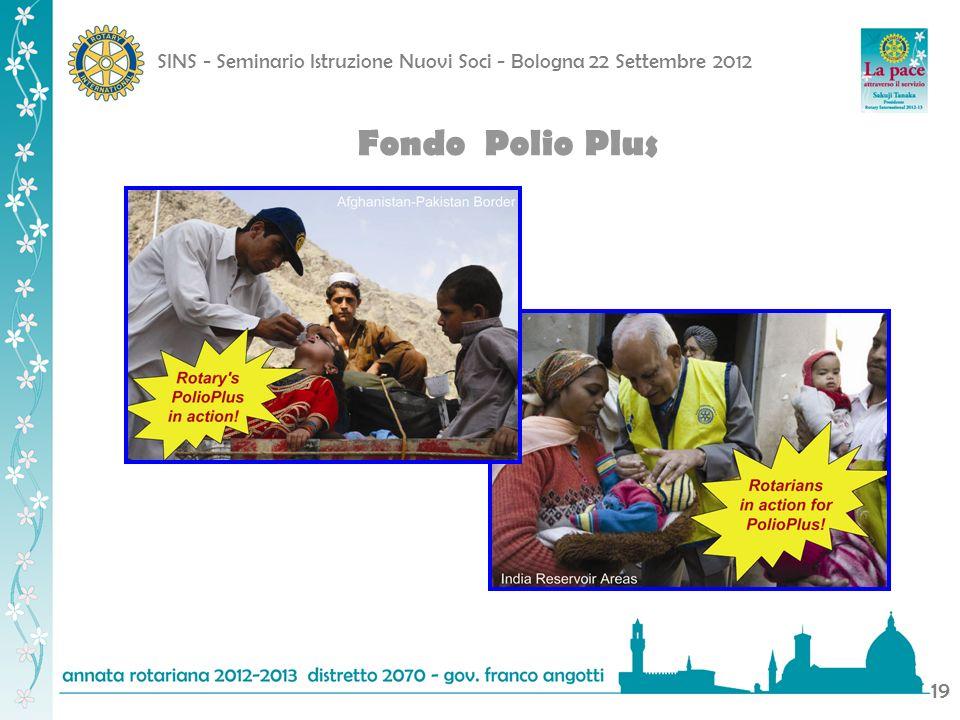 SINS - Seminario Istruzione Nuovi Soci - Bologna 22 Settembre 2012 19 Fondo Polio Plus
