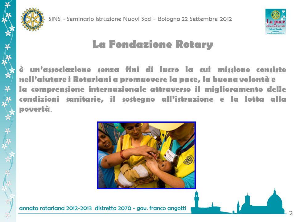 SINS - Seminario Istruzione Nuovi Soci - Bologna 22 Settembre 2012 2 La Fondazione Rotary è unassociazione senza fini di lucro la cui missione consist