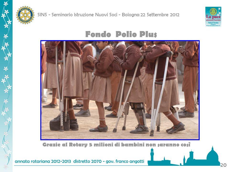 SINS - Seminario Istruzione Nuovi Soci - Bologna 22 Settembre 2012 20 Fondo Polio Plus Grazie al Rotary 5 milioni di bambini non saranno così