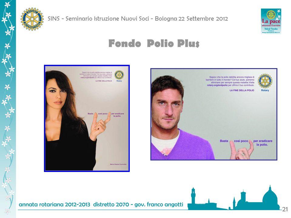 SINS - Seminario Istruzione Nuovi Soci - Bologna 22 Settembre 2012 21 Fondo Polio Plus
