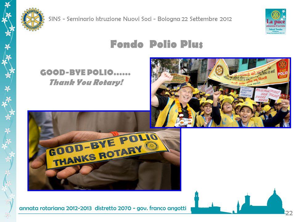 SINS - Seminario Istruzione Nuovi Soci - Bologna 22 Settembre 2012 22 Fondo Polio Plus GOOD-BYE POLIO…… Thank You Rotary!