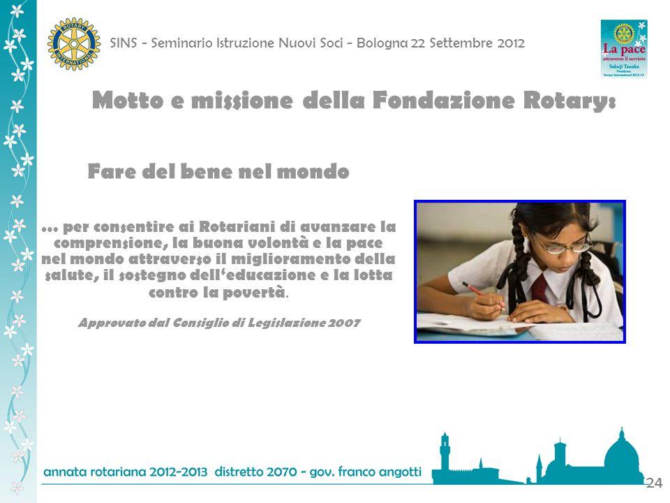 SINS - Seminario Istruzione Nuovi Soci - Bologna 22 Settembre 2012 24 Motto e missione della Fondazione Rotary: Fare del bene nel mondo … per consenti