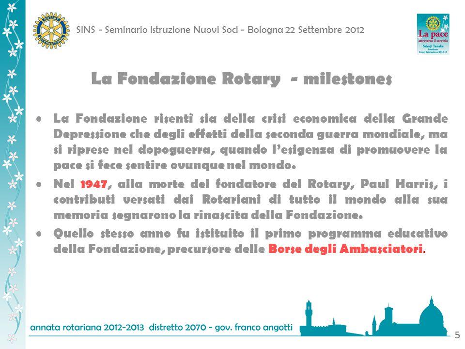 SINS - Seminario Istruzione Nuovi Soci - Bologna 22 Settembre 2012 6 Nel 1965-1966 furono lanciati tre nuovi programmi: scambi di gruppi di studio, sovvenzioni per lavviamento professionale e sovvenzioni per la realizzazione dellobiettivo della Fondazione Rotary in seguito sfociato nel programma sovvenzioni paritarie Nel 1980, nel quadro dello stesso programma furono istituiti i Volontari del Rotary La Fondazione Rotary - milestones