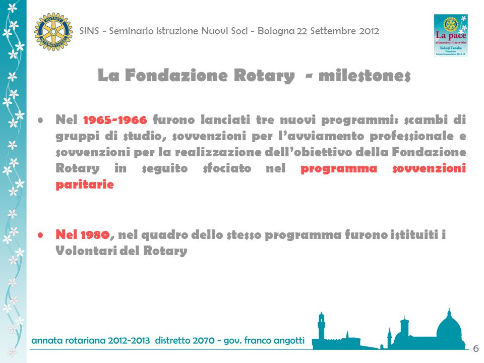 SINS - Seminario Istruzione Nuovi Soci - Bologna 22 Settembre 2012 17 Fondo Polio Plus Oltre 2 miliardi di bambini vaccinati dal 1985 Oltre 5 milioni di essi sottratti a sicuro contagio Limpegno del Rotary fino ad oggi: Oltre 1.200 milioni di dollari
