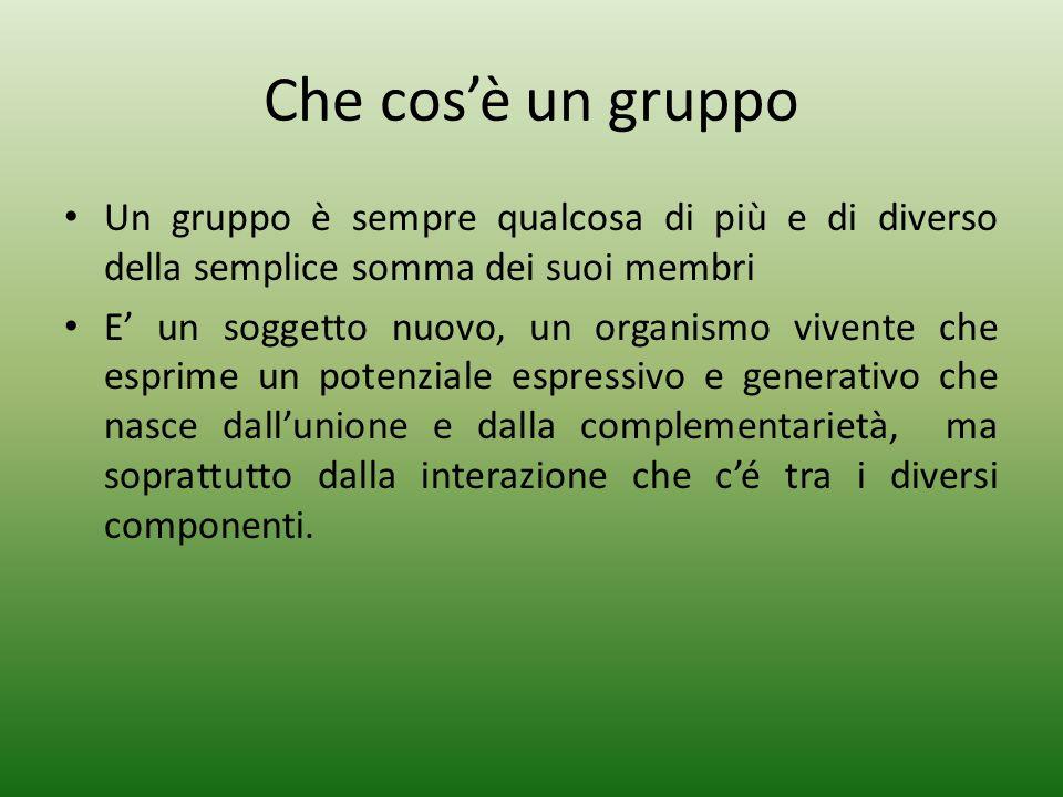 Che cosè un gruppo Un gruppo è sempre qualcosa di più e di diverso della semplice somma dei suoi membri E un soggetto nuovo, un organismo vivente che