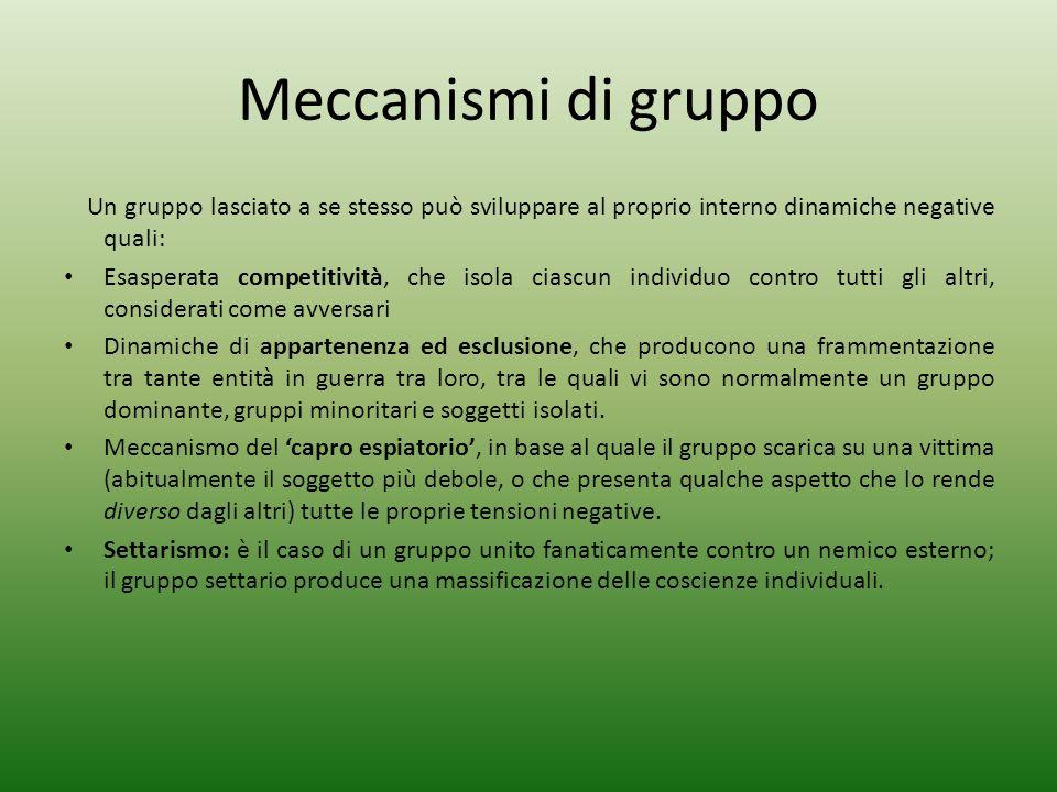 Meccanismi di gruppo Un gruppo lasciato a se stesso può sviluppare al proprio interno dinamiche negative quali: Esasperata competitività, che isola ci