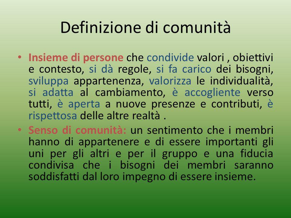 Definizione di comunità Insieme di persone che condivide valori, obiettivi e contesto, si dà regole, si fa carico dei bisogni, sviluppa appartenenza,
