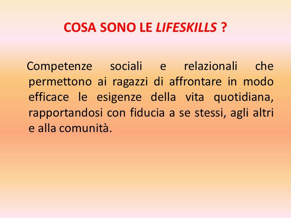 COSA SONO LE LIFESKILLS ? Competenze sociali e relazionali che permettono ai ragazzi di affrontare in modo efficace le esigenze della vita quotidiana,