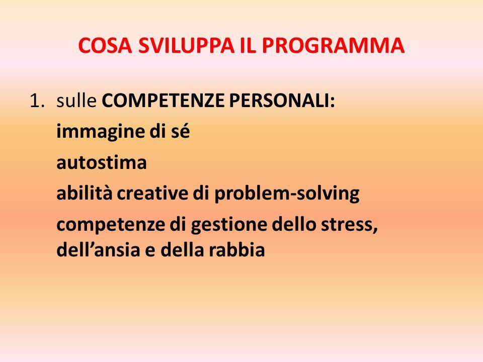 COSA SVILUPPA IL PROGRAMMA 1.sulle COMPETENZE PERSONALI: immagine di sé autostima abilità creative di problem-solving competenze di gestione dello stress, dellansia e della rabbia