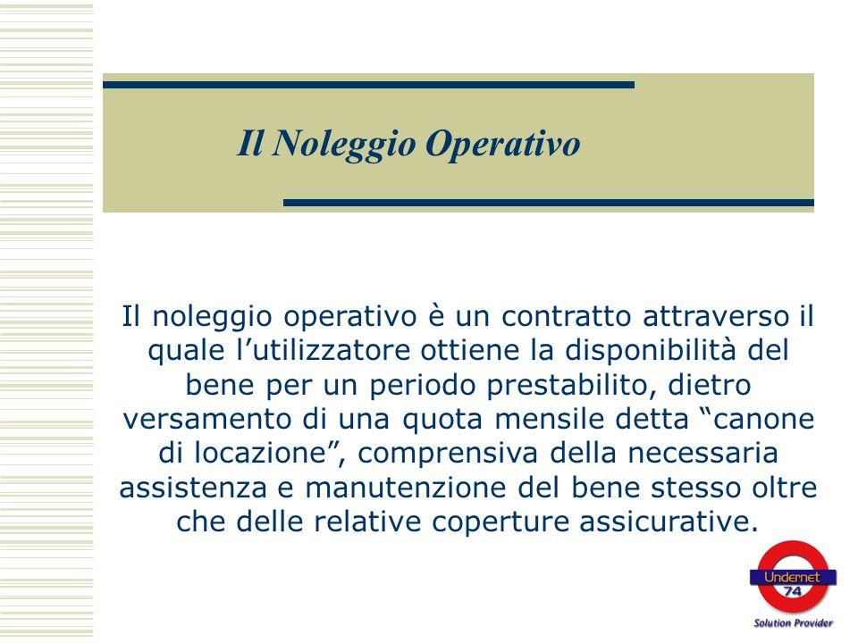 Il noleggio operativo è un contratto attraverso il quale lutilizzatore ottiene la disponibilità del bene per un periodo prestabilito, dietro versament
