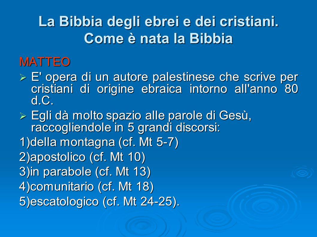 La Bibbia degli ebrei e dei cristiani. Come è nata la Bibbia MATTEO E' opera di un autore palestinese che scrive per cristiani di origine ebraica into