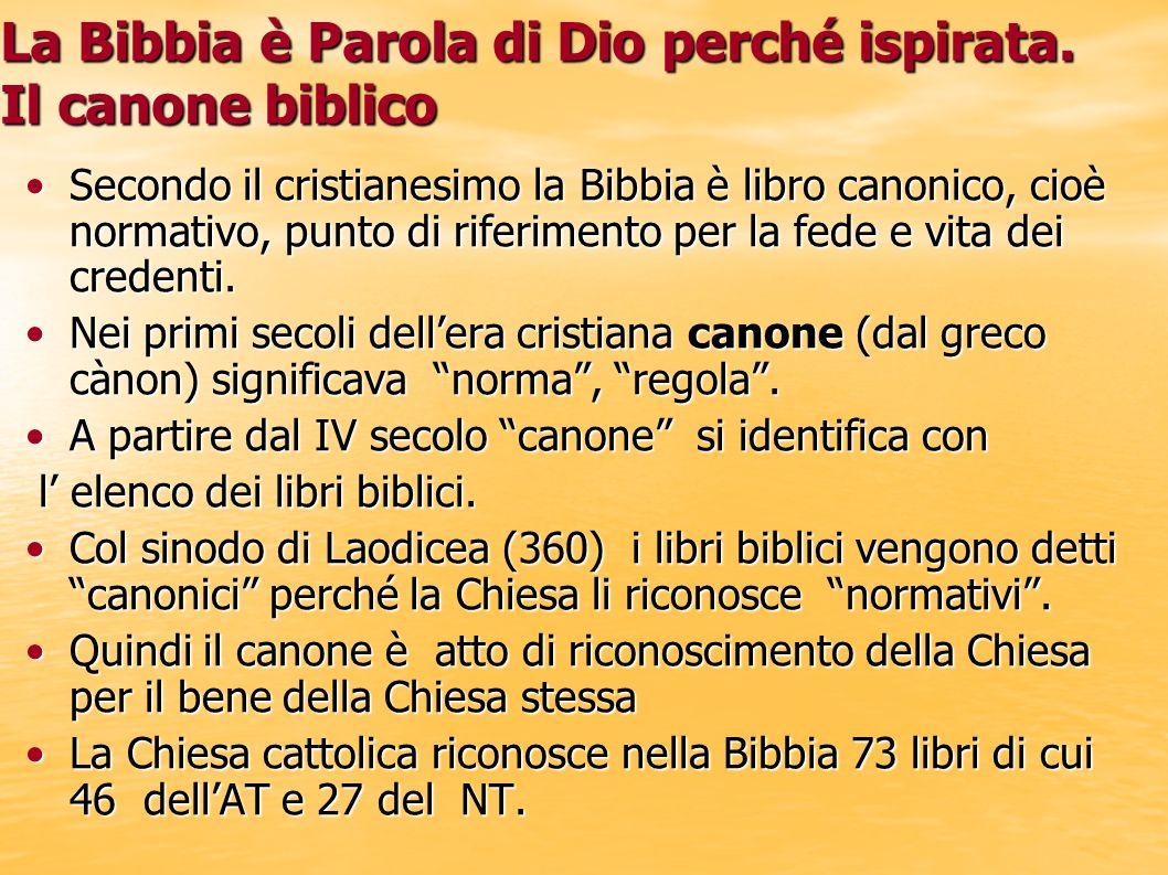 La Bibbia è Parola di Dio perché ispirata. Il canone biblico Secondo il cristianesimo la Bibbia è libro canonico, cioè normativo, punto di riferimento