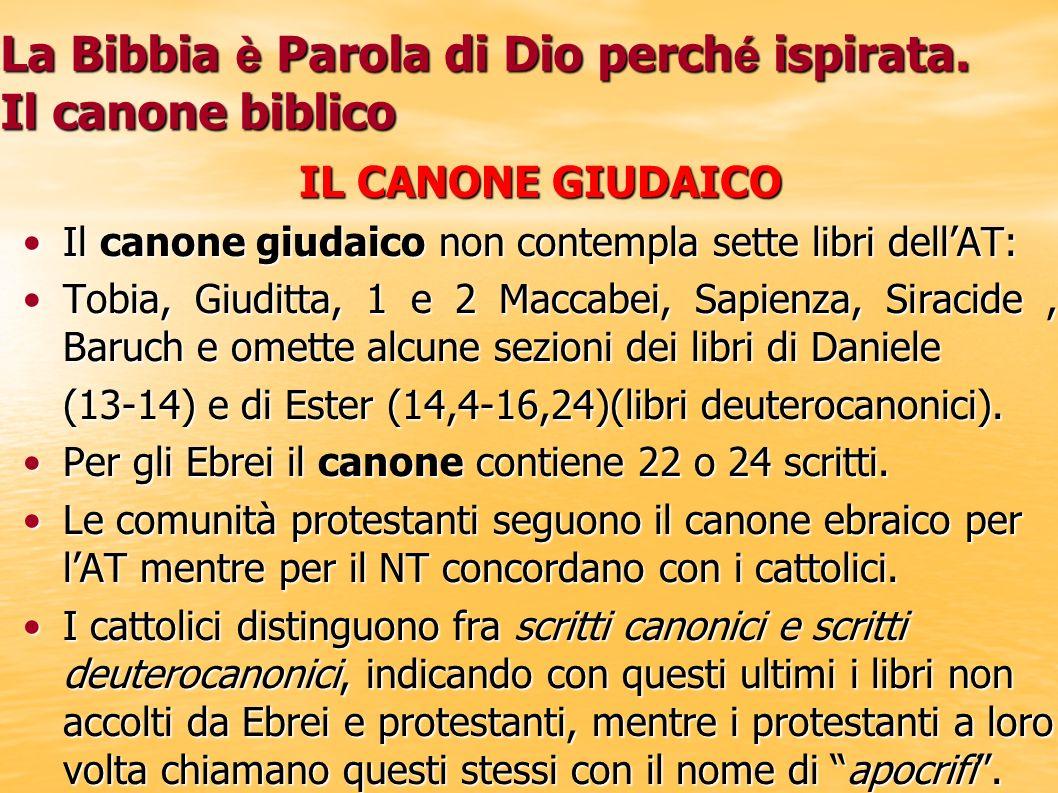 La Bibbia è Parola di Dio perch é ispirata. Il canone biblico IL CANONE GIUDAICO Il canone giudaico non contempla sette libri dellAT:Il canone giudaic