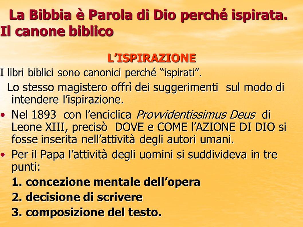 La Bibbia è Parola di Dio perché ispirata. Il canone biblico La Bibbia è Parola di Dio perché ispirata. Il canone biblicoLISPIRAZIONE I libri biblici