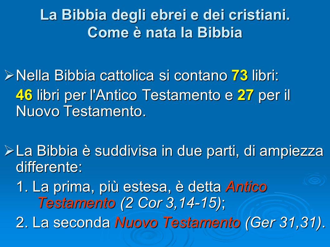 Nella Bibbia cattolica si contano 73 libri: Nella Bibbia cattolica si contano 73 libri: 46 libri per l'Antico Testamento e 27 per il Nuovo Testamento.