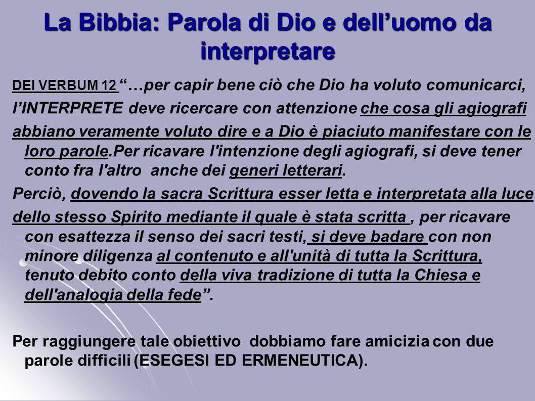 La Bibbia: Parola di Dio e delluomo da interpretare DEI VERBUM 12 …per capir bene ciò che Dio ha voluto comunicarci, lINTERPRETE deve ricercare con at