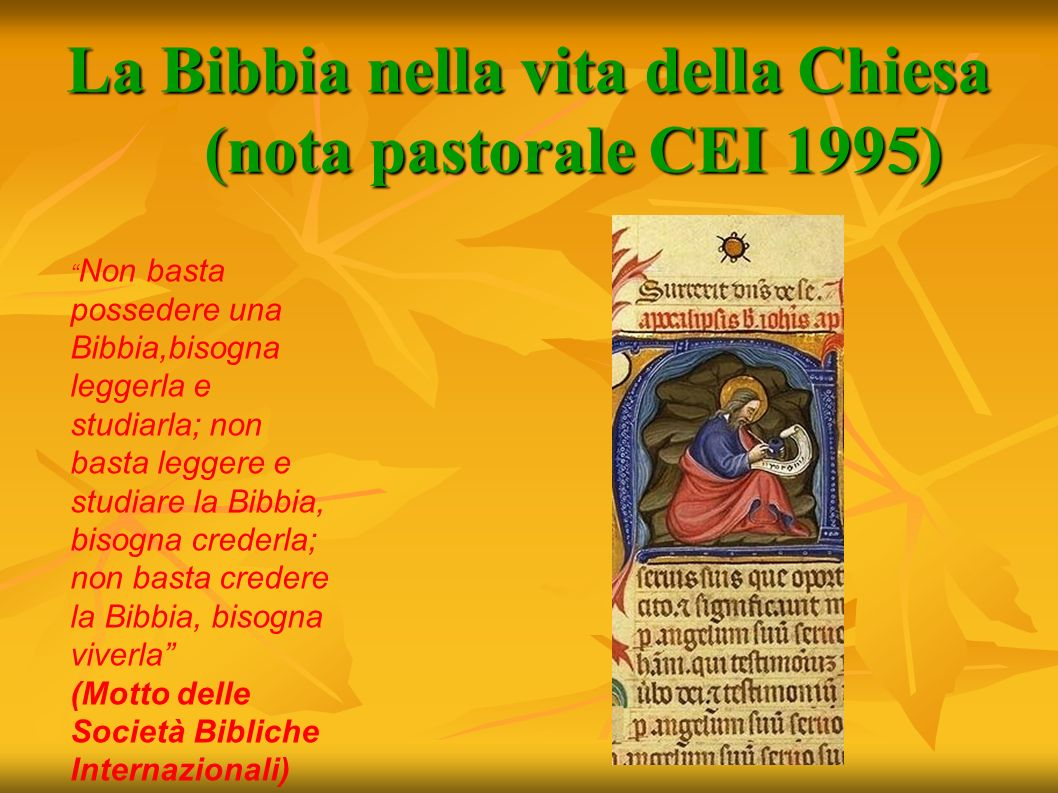 La Bibbia nella vita della Chiesa (nota pastorale CEI 1995) Non basta possedere una Bibbia,bisogna leggerla e studiarla; non basta leggere e studiare