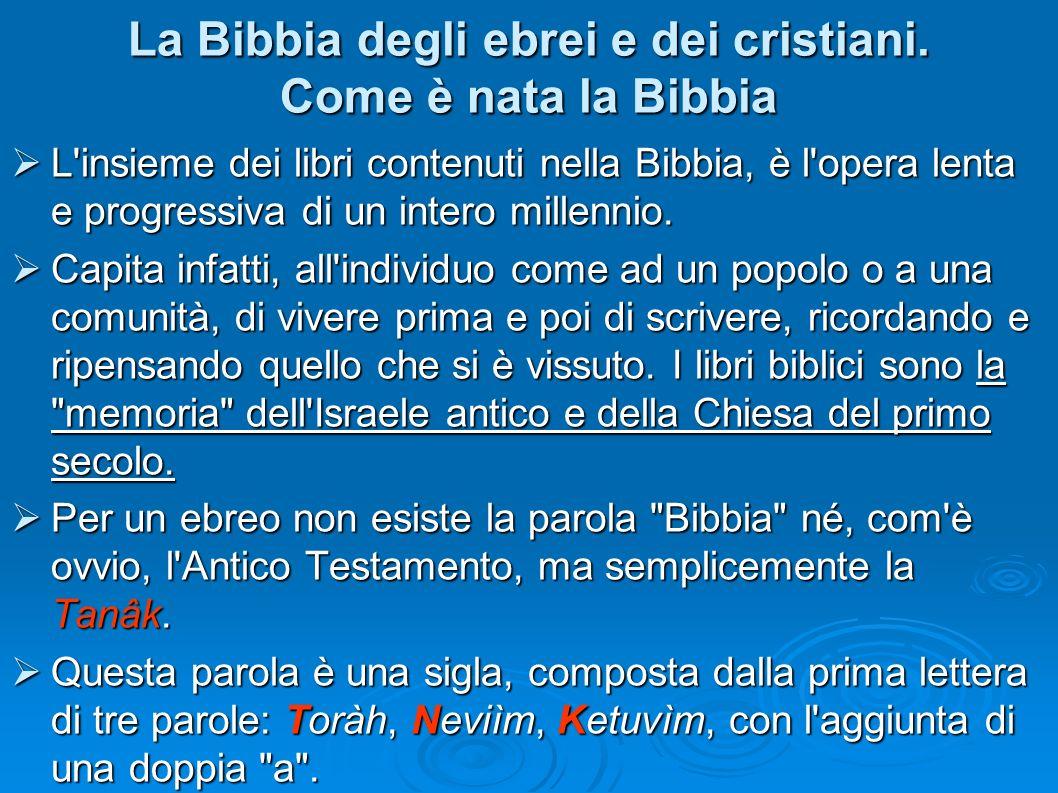 La Bibbia degli ebrei e dei cristiani. Come è nata la Bibbia L'insieme dei libri contenuti nella Bibbia, è l'opera lenta e progressiva di un intero mi