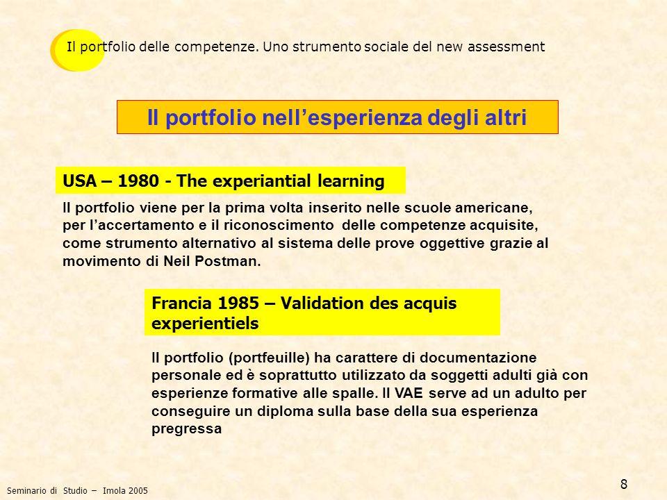 9 Il portfolio nellesperienza degli altri UK 1990 - NRA (National Record of Achievements) Dal 1991 il NRA viene fornito a tutti i sedicenni e in genere a chi è in formazione.