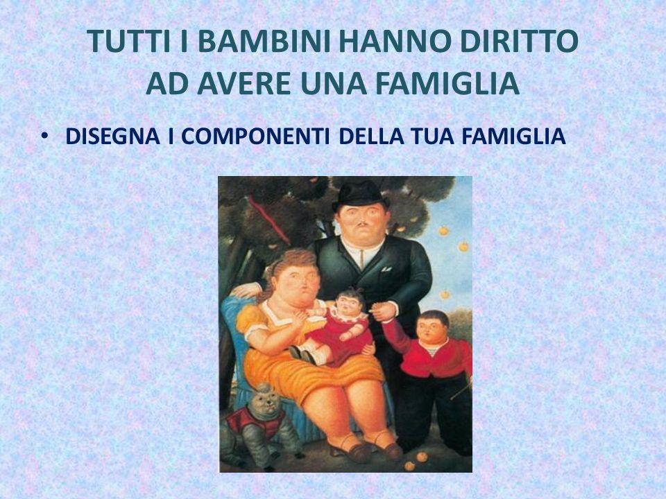 TUTTI I BAMBINI HANNO DIRITTO AD AVERE UNA FAMIGLIA DISEGNA I COMPONENTI DELLA TUA FAMIGLIA