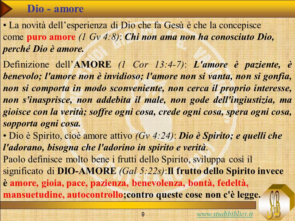 www.studibiblici.it 50 Gv: Lesperienza di Vita (Gv 7:14-18) – criterio soggettivo Gv 7:16 Gesù rispose: «La mia dottrina non è mia, ma di colui che mi ha mandato.