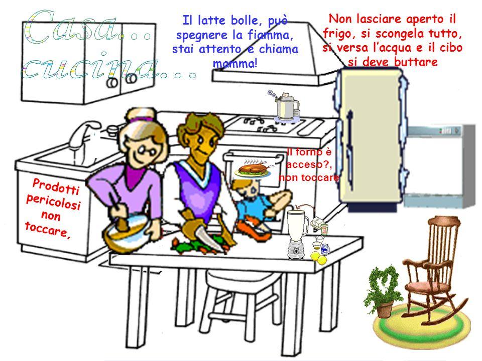 P r o d o t t i p e r i c o l o s i n o n t o c c a r e, Il latte bolle, può spegnere la fiamma, stai attento e chiama mamma! Non lasciare aperto il f