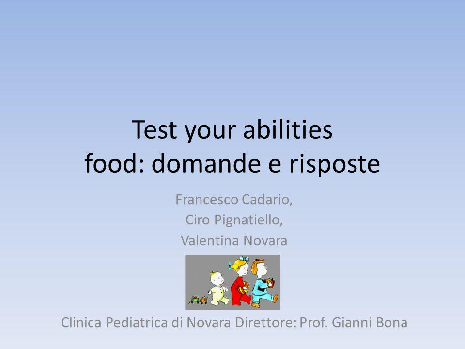 Food, domanda 1 Quando ti siedi a tavola per pranzo: A: fai sempre la stressa dose di insulina B: cerchi di capire quanti CHO hai nel piatto C: fai sempre ununità in più per non sbagliare D: fai sempre ununità in meno per non sbagliare