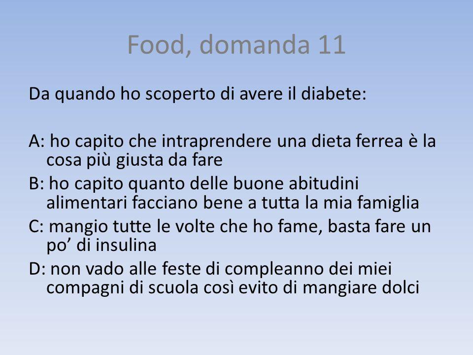 Food, domanda 11 Da quando ho scoperto di avere il diabete: A: ho capito che intraprendere una dieta ferrea è la cosa più giusta da fare B: ho capito