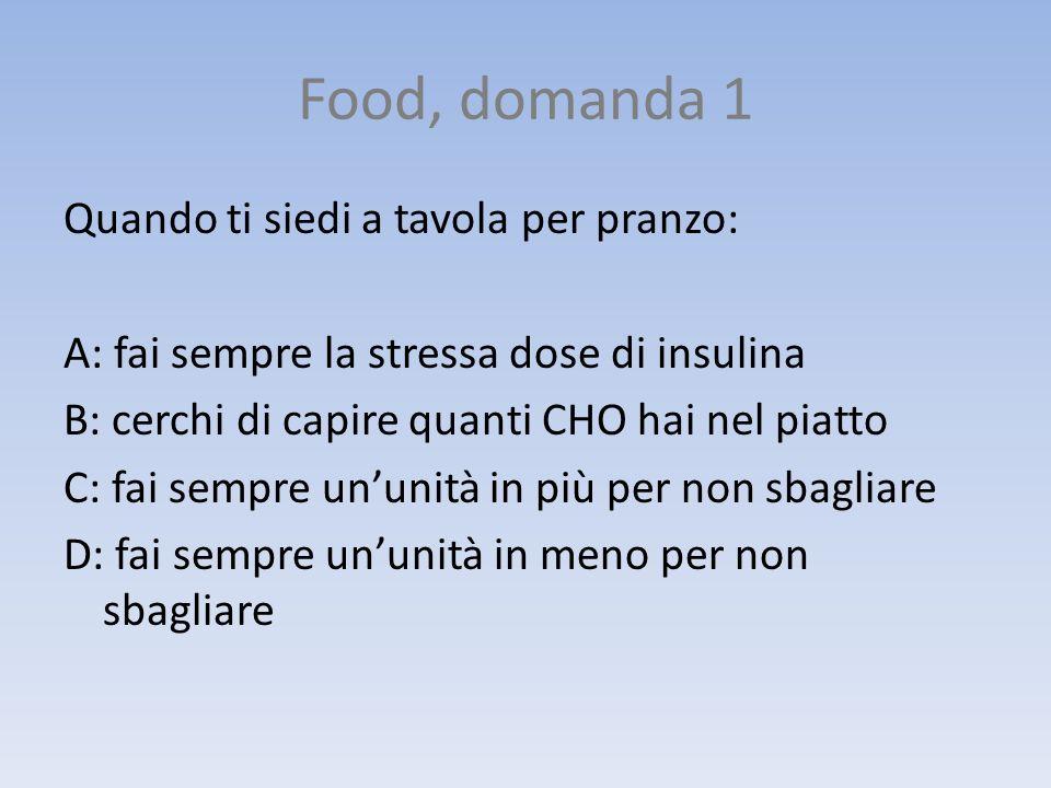 Food, domanda 8 Cosa non può mai mancare a cena: A: il dolce B: la verdura C: un secondo piatto D: un primo piatto o in alternativa due panini