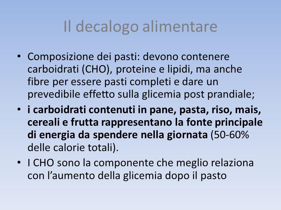 Il decalogo alimentare Composizione dei pasti: devono contenere carboidrati (CHO), proteine e lipidi, ma anche fibre per essere pasti completi e dare