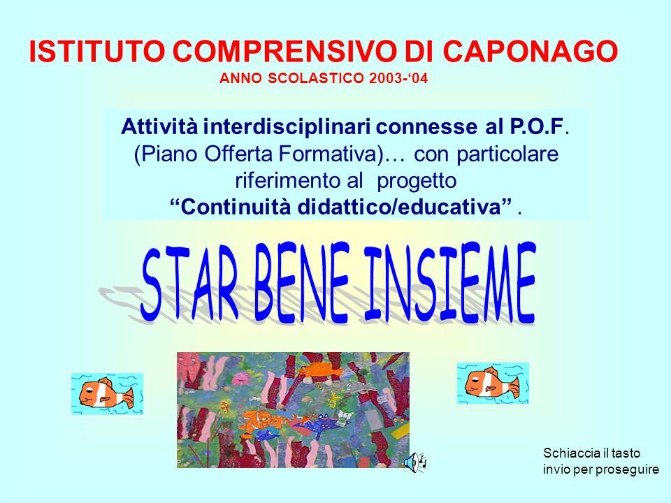 ISTITUTO COMPRENSIVO DI CAPONAGO ANNO SCOLASTICO 2003-04 Attività interdisciplinari connesse al P.O.F.
