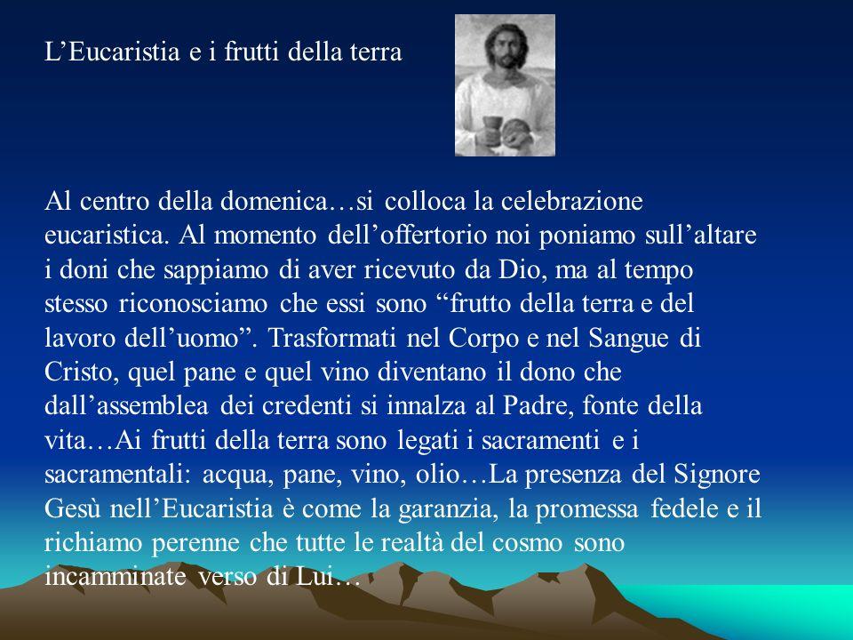 LEucaristia e i frutti della terra Al centro della domenica…si colloca la celebrazione eucaristica. Al momento delloffertorio noi poniamo sullaltare i