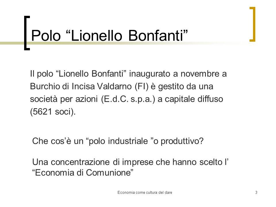 Economia come cultura del dare3 Polo Lionello Bonfanti Il polo Lionello Bonfanti inaugurato a novembre a Burchio di Incisa Valdarno (FI) è gestito da