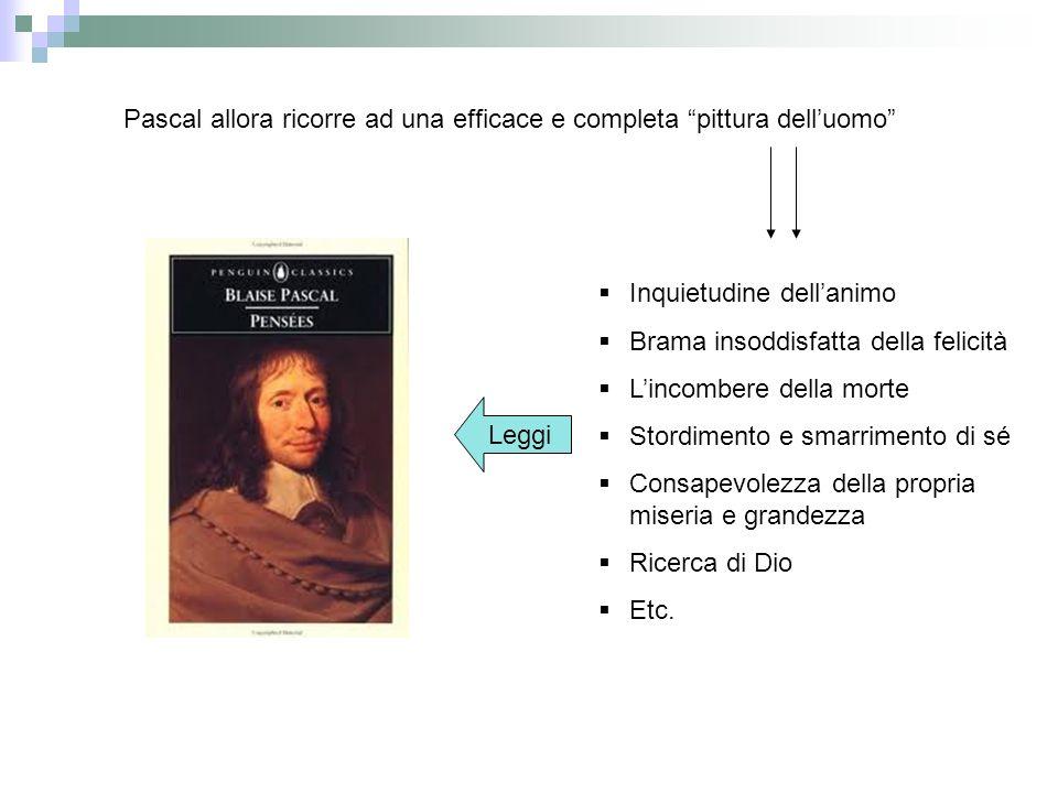 Pascal allora ricorre ad una efficace e completa pittura delluomo Inquietudine dellanimo Brama insoddisfatta della felicità Lincombere della morte Sto