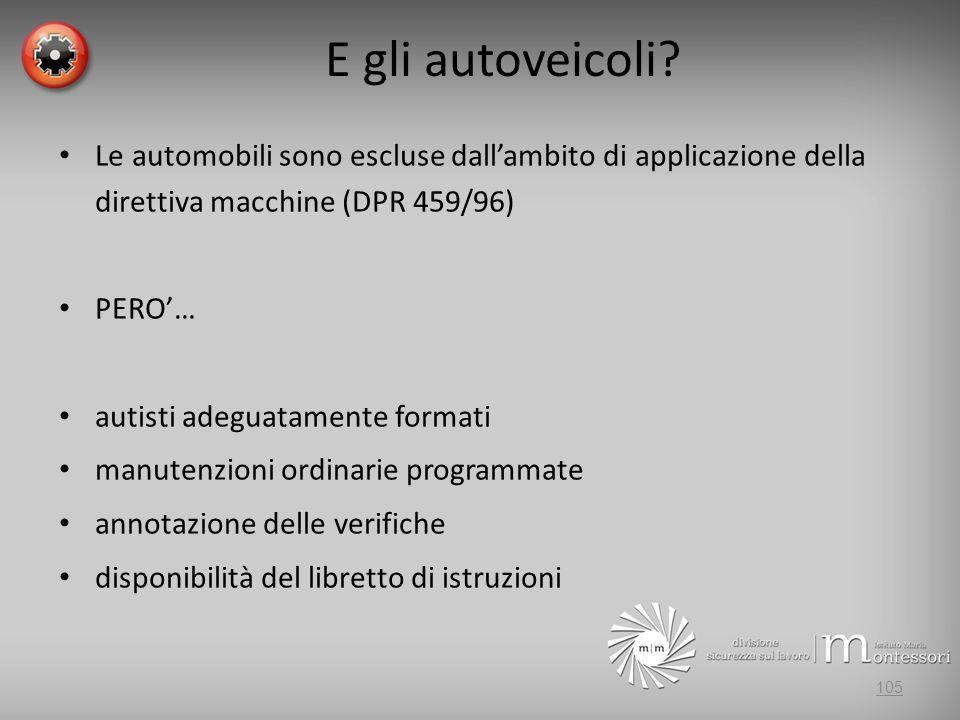 E gli autoveicoli? Le automobili sono escluse dallambito di applicazione della direttiva macchine (DPR 459/96) PERO… autisti adeguatamente formati man