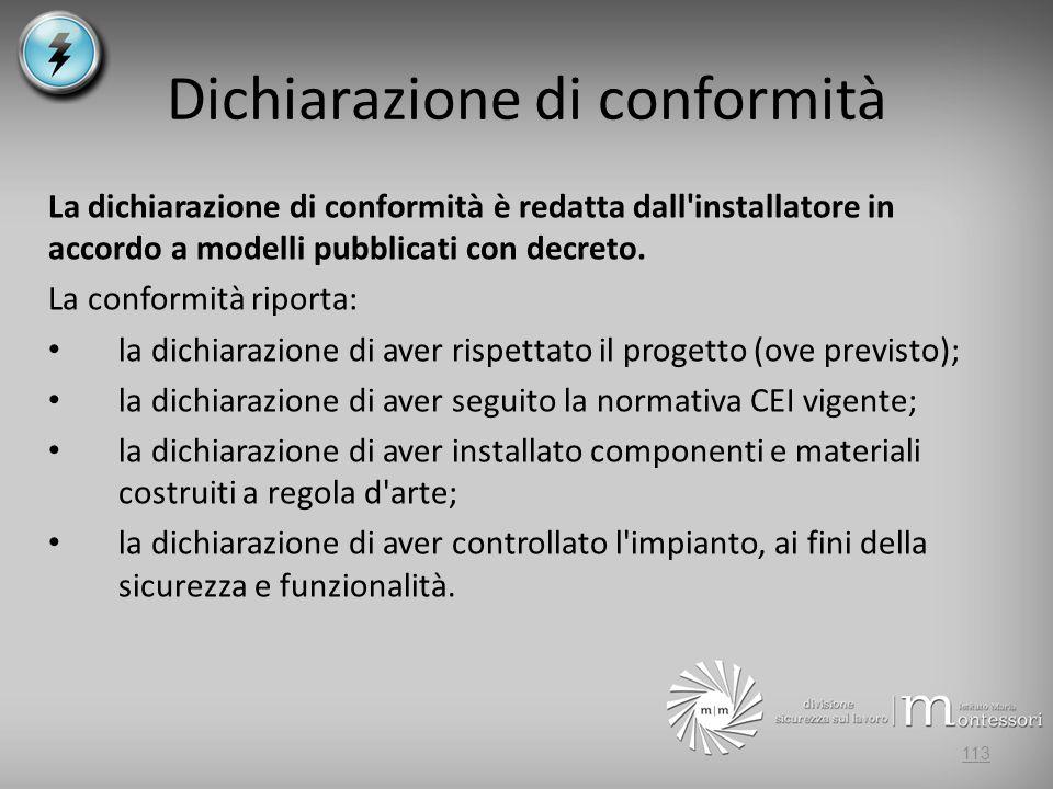 Dichiarazione di conformità La dichiarazione di conformità è redatta dall'installatore in accordo a modelli pubblicati con decreto. La conformità ripo