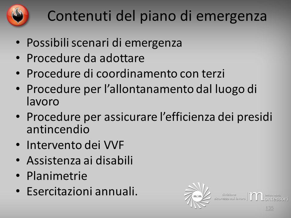 Contenuti del piano di emergenza Possibili scenari di emergenza Procedure da adottare Procedure di coordinamento con terzi Procedure per lallontanamento dal luogo di lavoro Procedure per assicurare lefficienza dei presidi antincendio Intervento dei VVF Assistenza ai disabili Planimetrie Esercitazioni annuali.