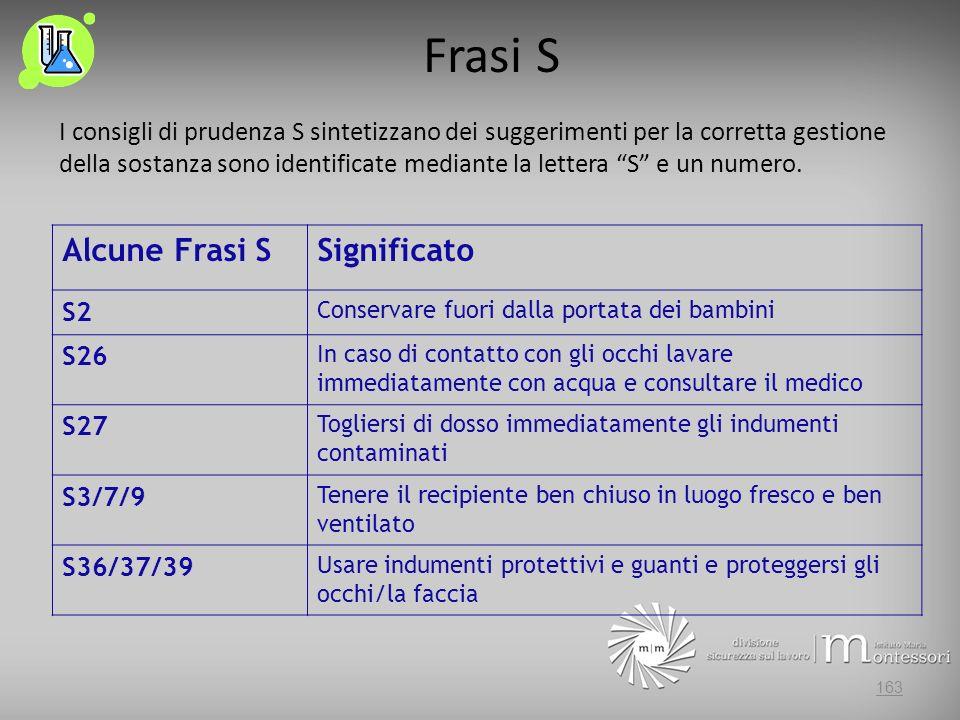 Frasi S I consigli di prudenza S sintetizzano dei suggerimenti per la corretta gestione della sostanza sono identificate mediante la lettera S e un numero.