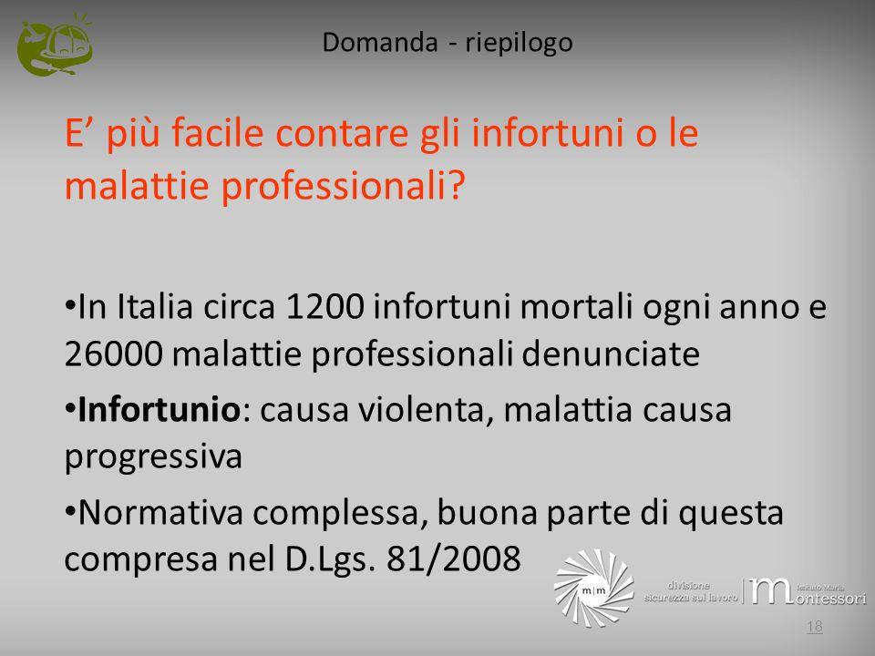 Domanda - riepilogo E più facile contare gli infortuni o le malattie professionali? In Italia circa 1200 infortuni mortali ogni anno e 26000 malattie