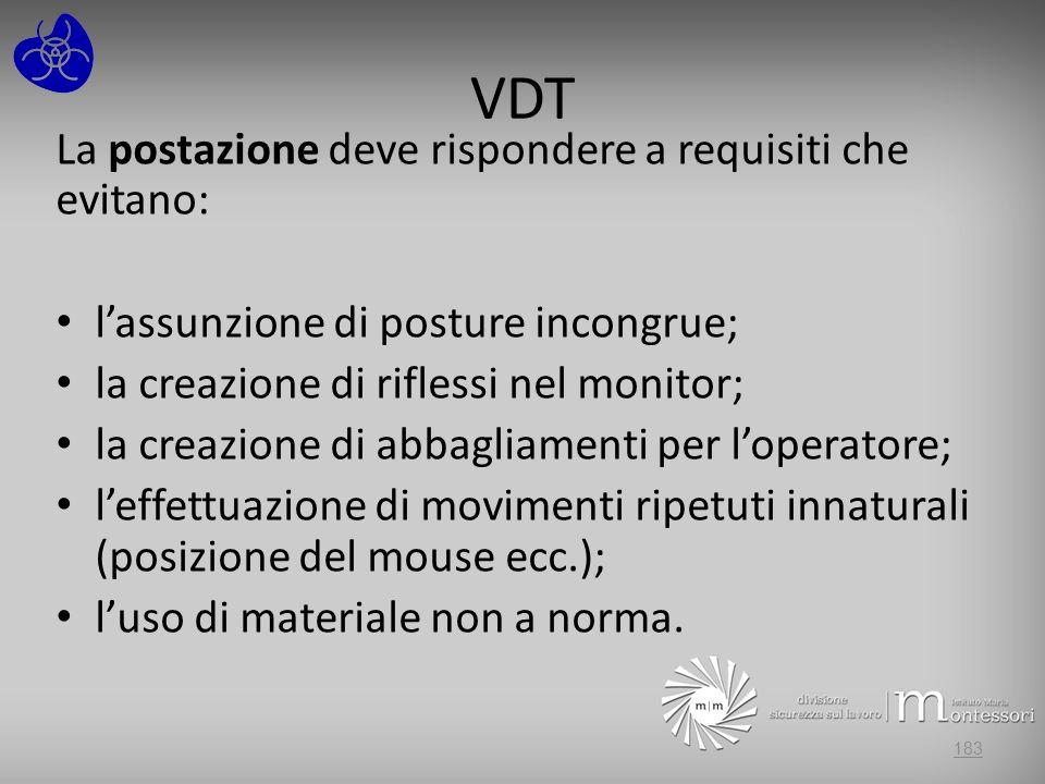 VDT La postazione deve rispondere a requisiti che evitano: lassunzione di posture incongrue; la creazione di riflessi nel monitor; la creazione di abb