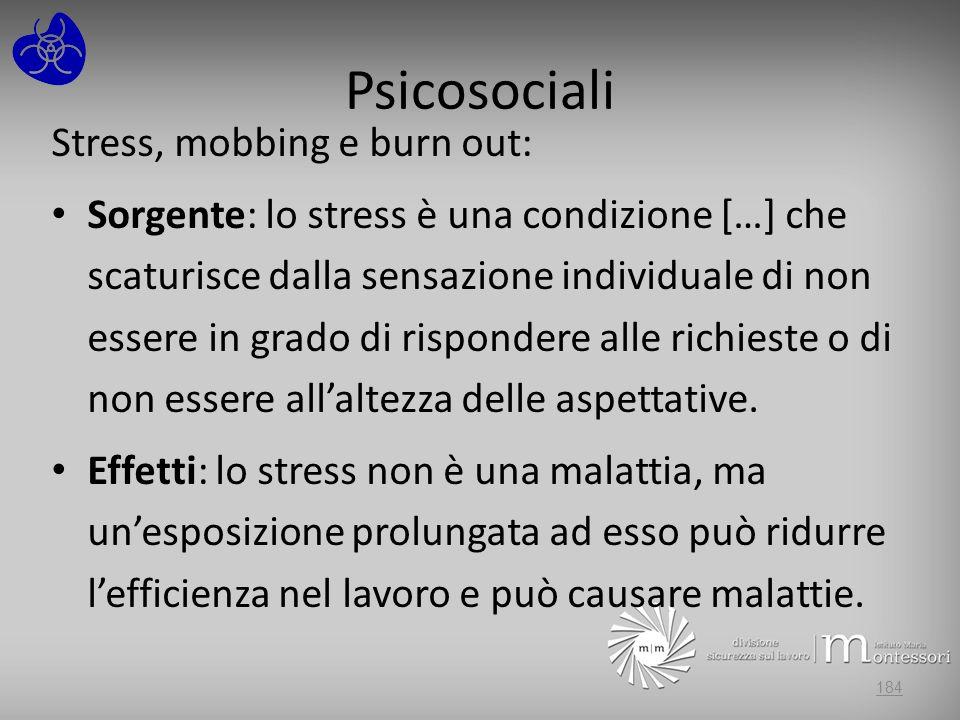 Psicosociali Stress, mobbing e burn out: Sorgente: lo stress è una condizione […] che scaturisce dalla sensazione individuale di non essere in grado d