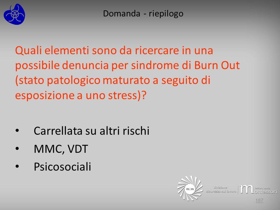 Domanda - riepilogo Quali elementi sono da ricercare in una possibile denuncia per sindrome di Burn Out (stato patologico maturato a seguito di esposi