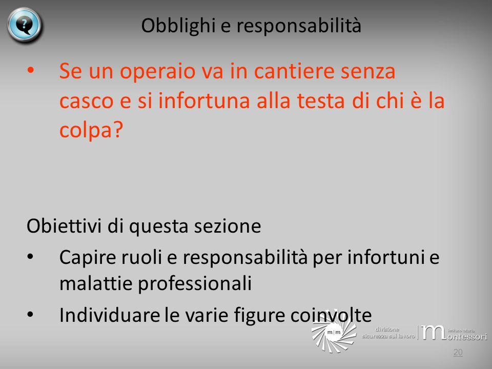 Obblighi e responsabilità Se un operaio va in cantiere senza casco e si infortuna alla testa di chi è la colpa.