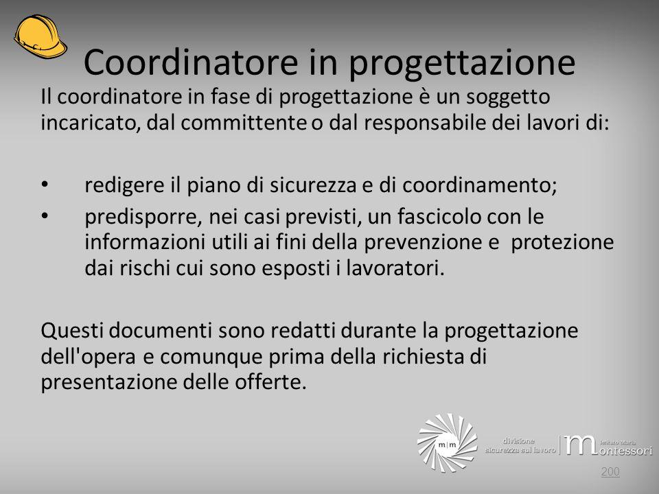Coordinatore in progettazione Il coordinatore in fase di progettazione è un soggetto incaricato, dal committente o dal responsabile dei lavori di: red