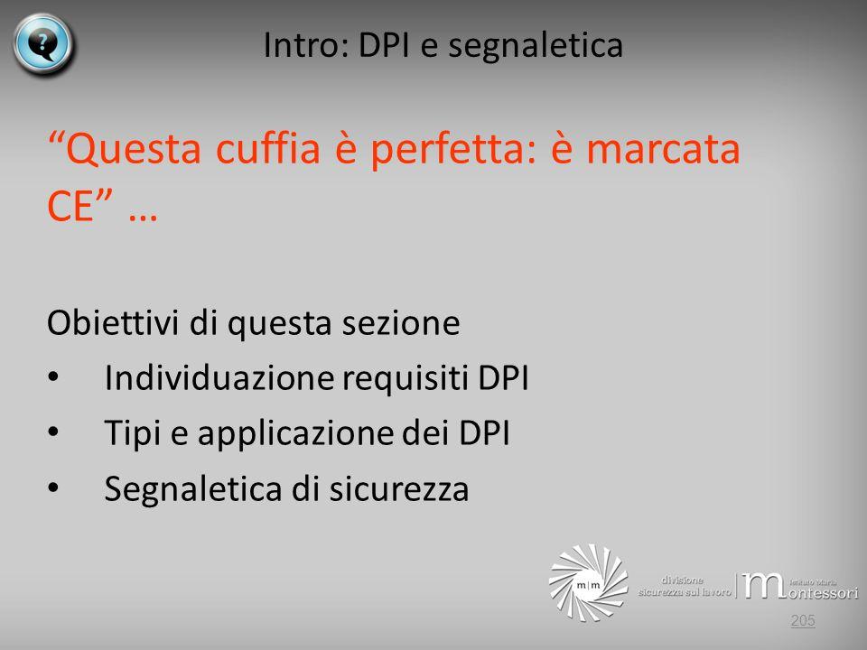 Intro: DPI e segnaletica Questa cuffia è perfetta: è marcata CE … Obiettivi di questa sezione Individuazione requisiti DPI Tipi e applicazione dei DPI Segnaletica di sicurezza 205