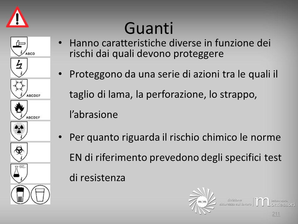 Guanti Hanno caratteristiche diverse in funzione dei rischi dai quali devono proteggere Proteggono da una serie di azioni tra le quali il taglio di la